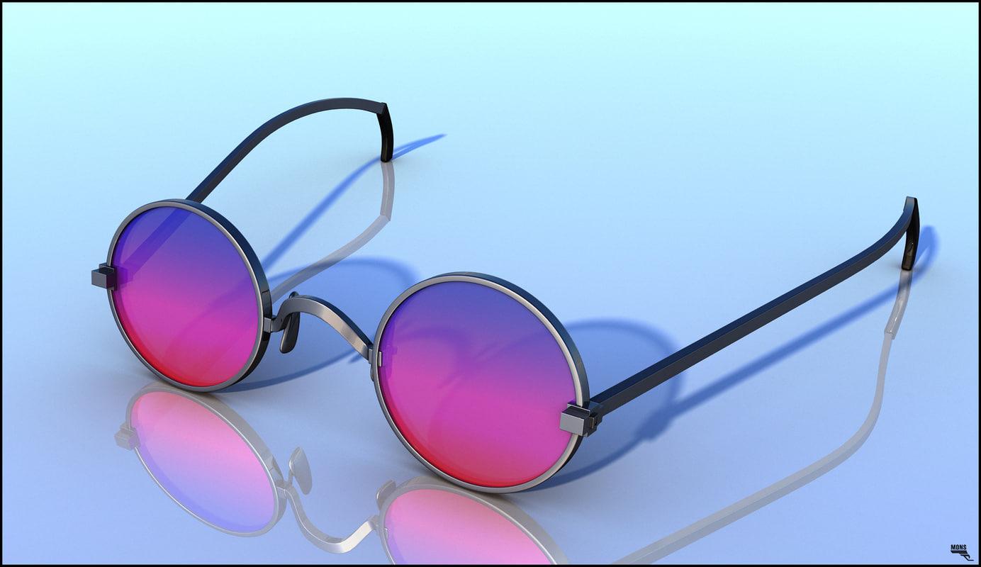 hippie glass sunglasses obj