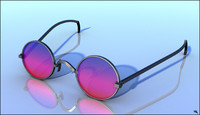3d model hippie glass sunglasses