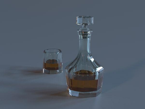 3d model decanter glass liquid