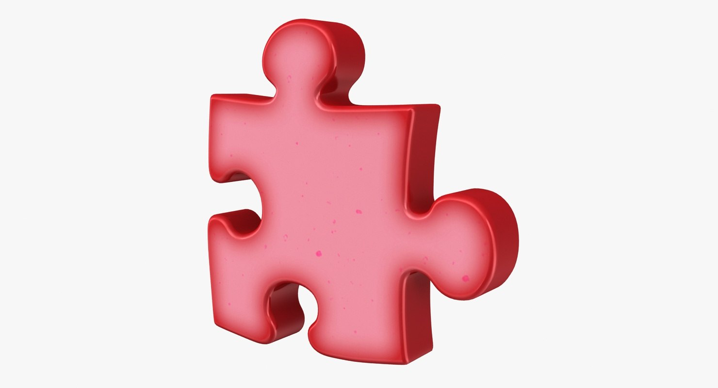 3d model puzzle red