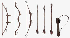 3d model fantasy tribal weapons -
