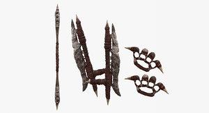 3d fantasy tribal weapons - model
