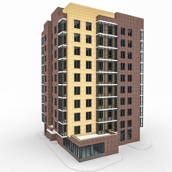 c4d 10 storey house
