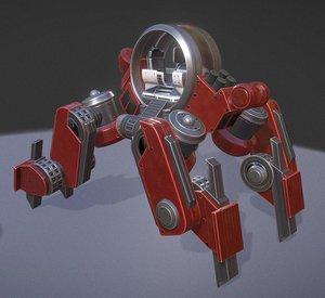 futuristic terrain walker red 3d model