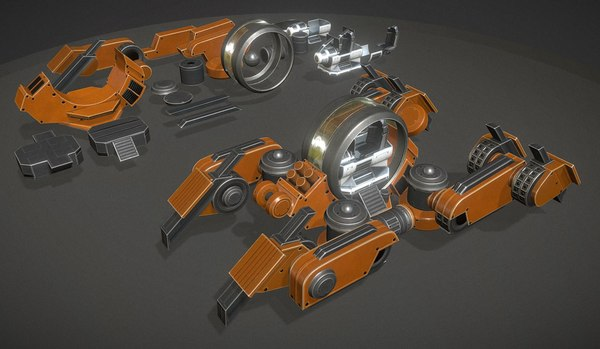 futuristic terrain walker rigged 3d model