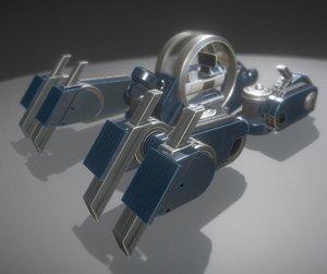 3ds futuristic terrain walker blue