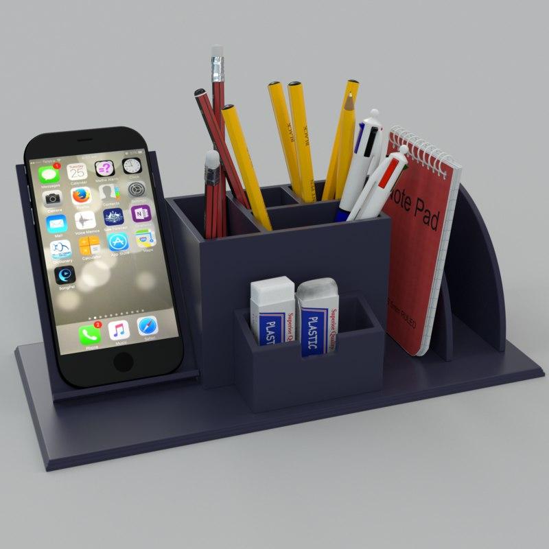 3d model desk pen organiser