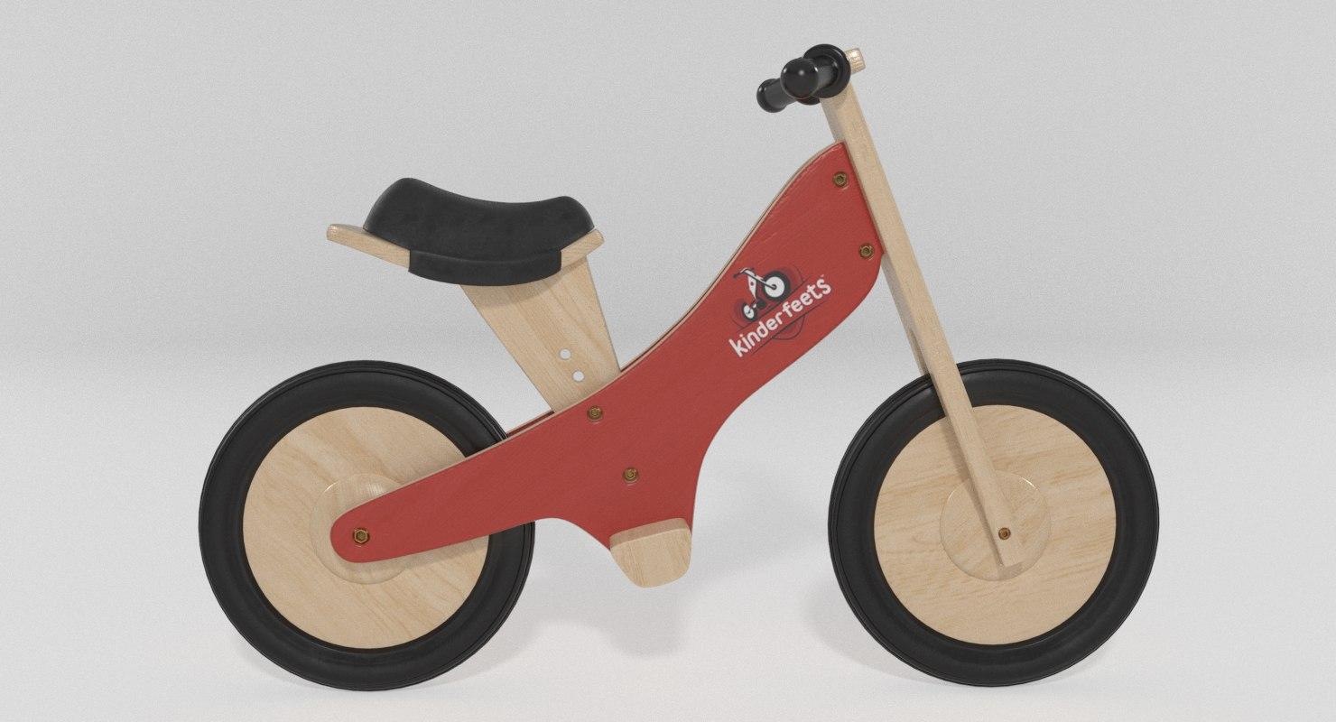 kids bicycle kinderfeets 3d model