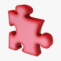 3d puzzle squeezed red model