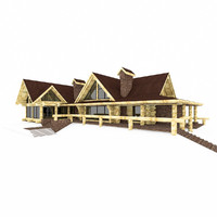 canadian wood log house 3d model