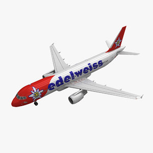 airbus a320 edelweiss air 3d model