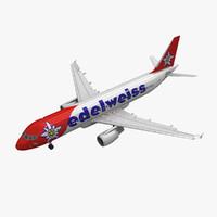 airbus a320 edelweiss air 3d model