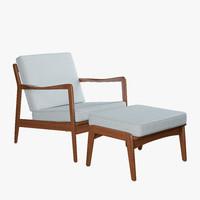 3d model of century lounge chair ottoman