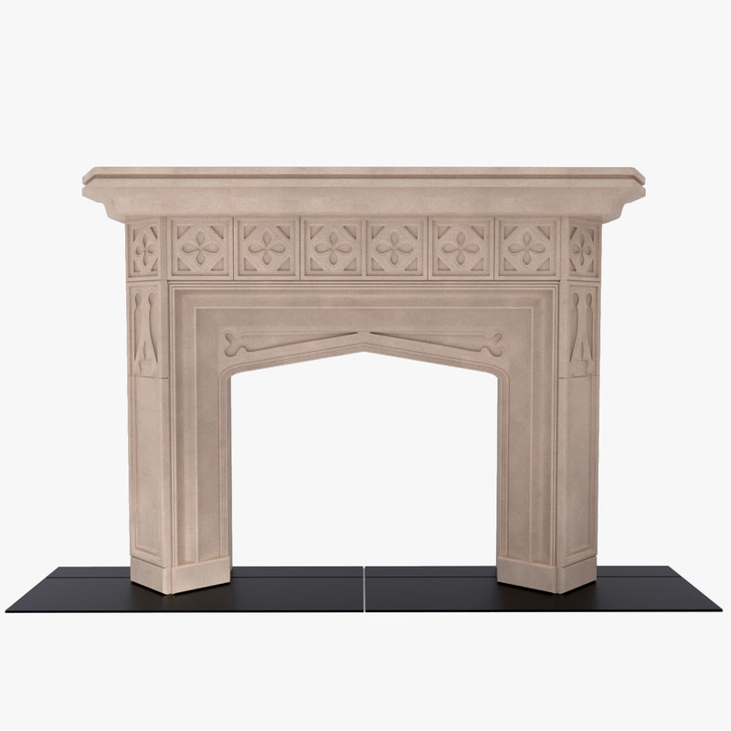3d english gothic fireplace model