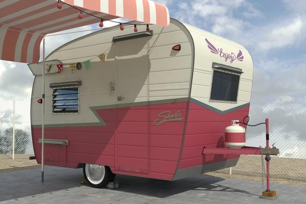 3d retro trailer shasta model