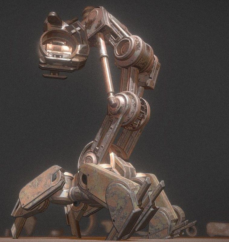 3d walking mech neck rusty model