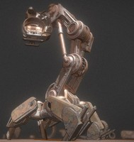 3d walking mech neck rusty model