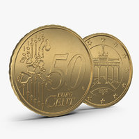 3d german euro coin 50 model
