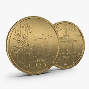 3d german euro coin 50 model