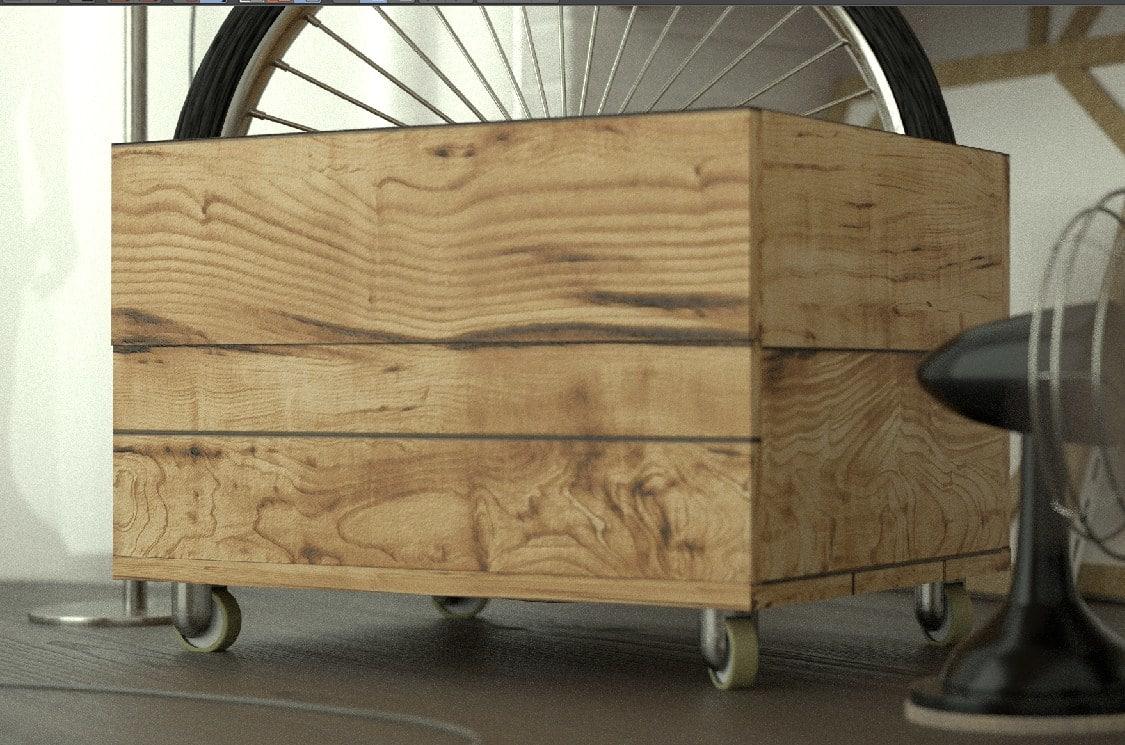 3d wood box wheels model