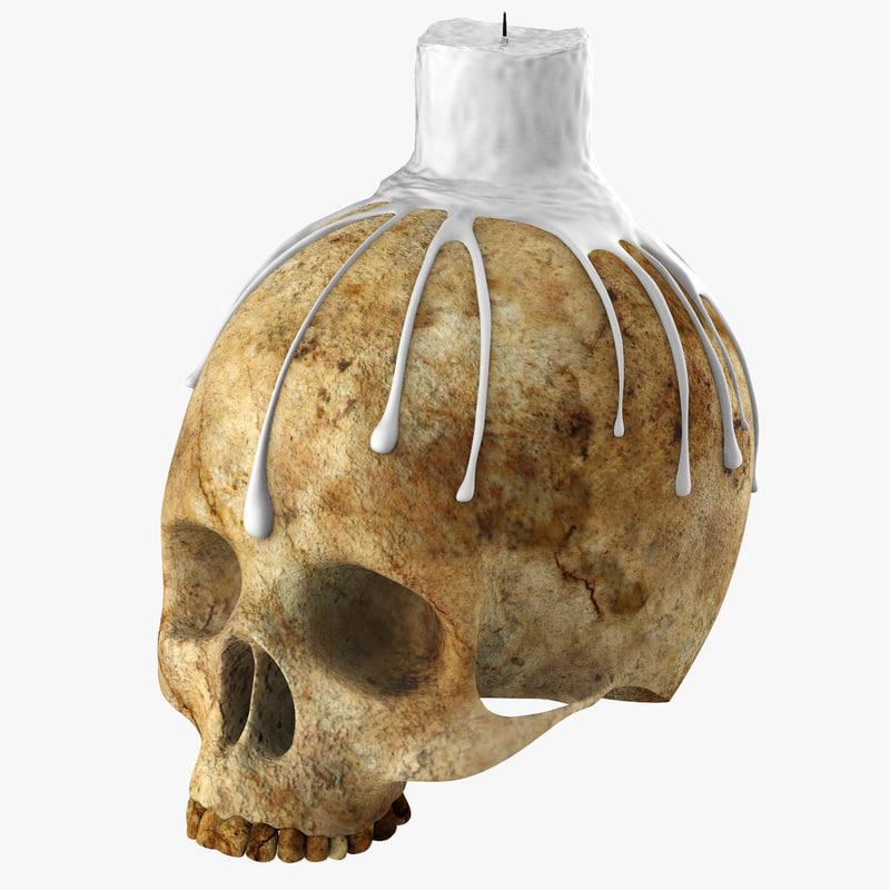 3ds skull candle holder