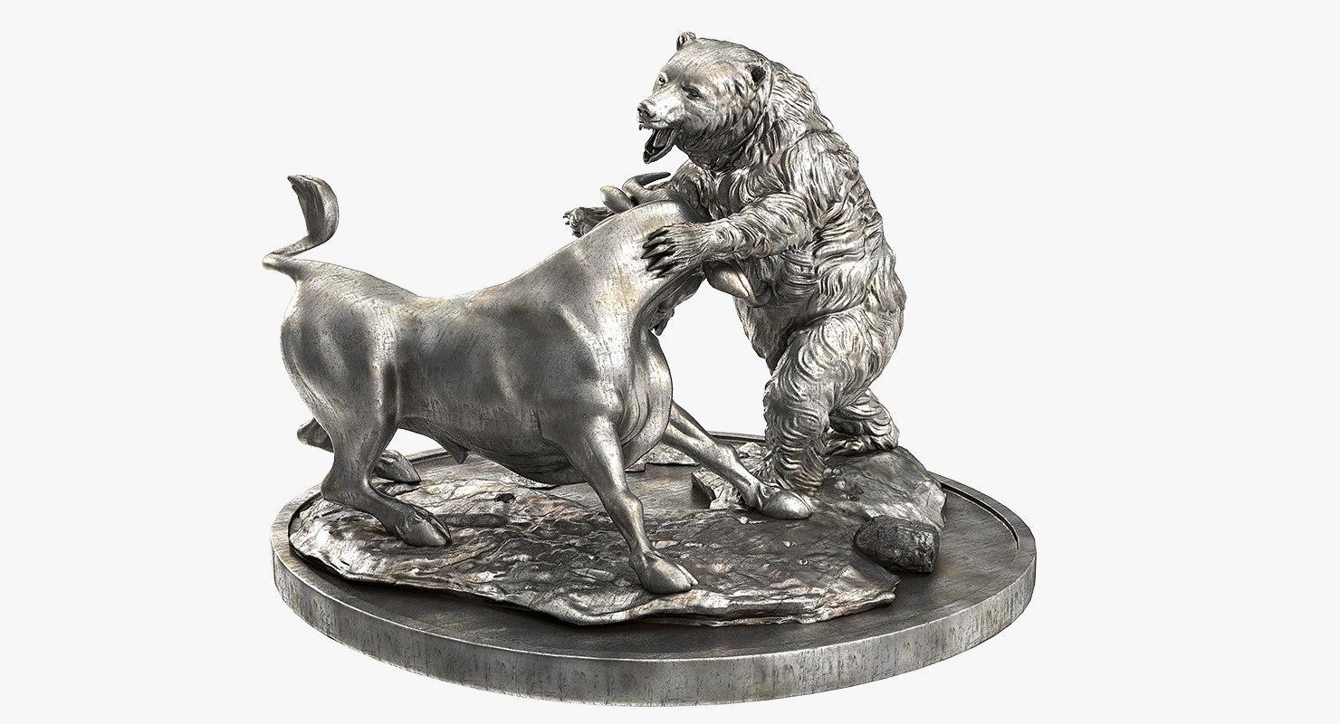 bull bear fighting statue 3d model