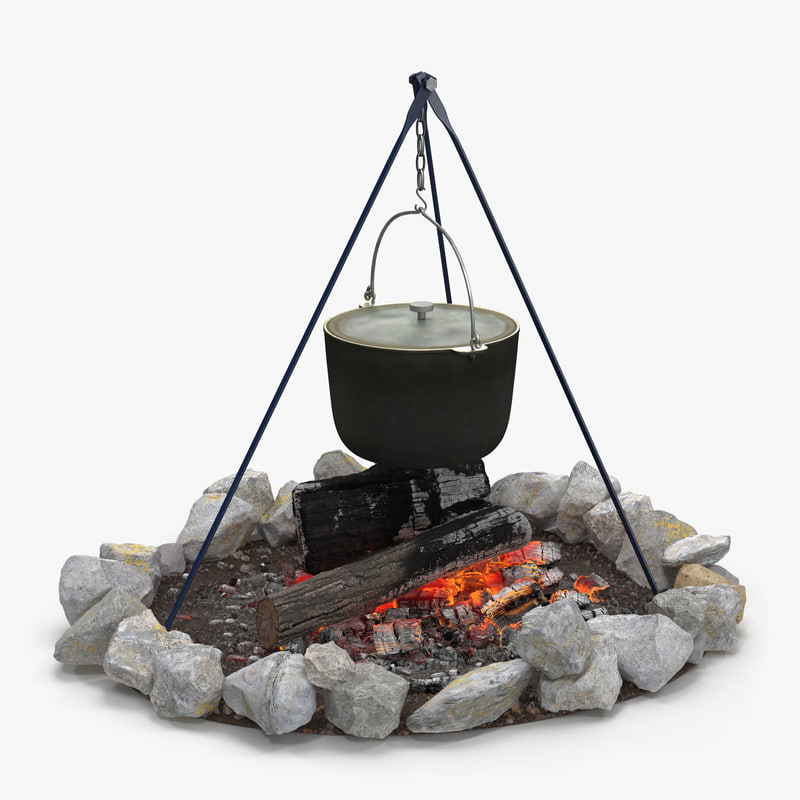 3d model campfire tripod cooking pot