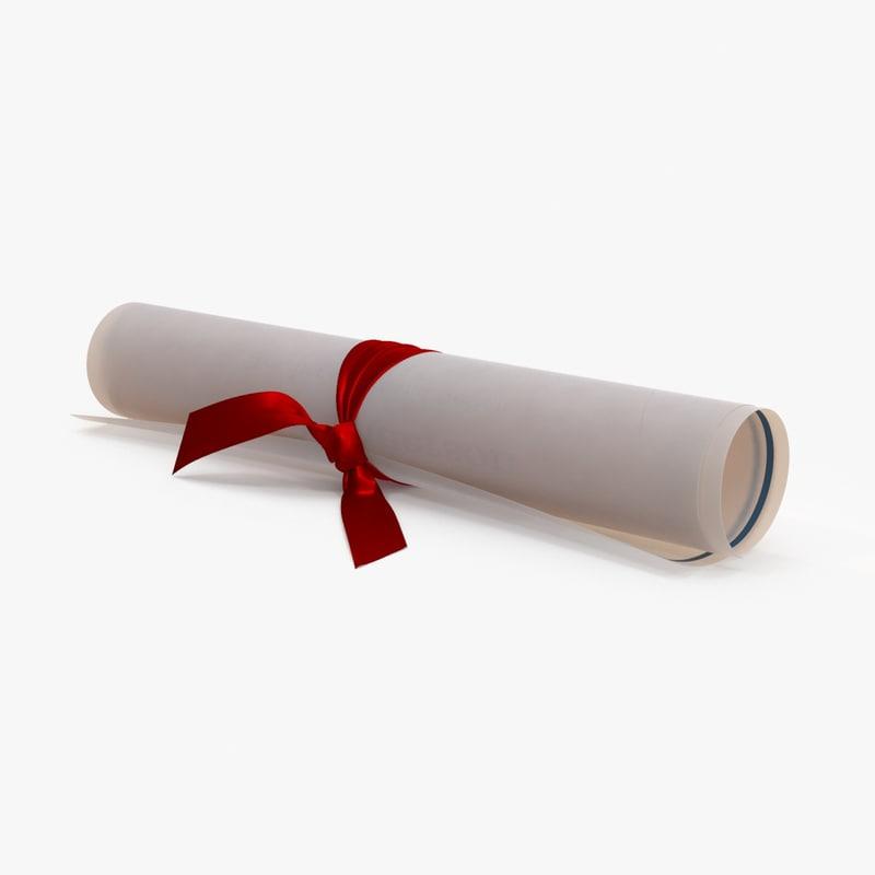 diploma scroll 3d model