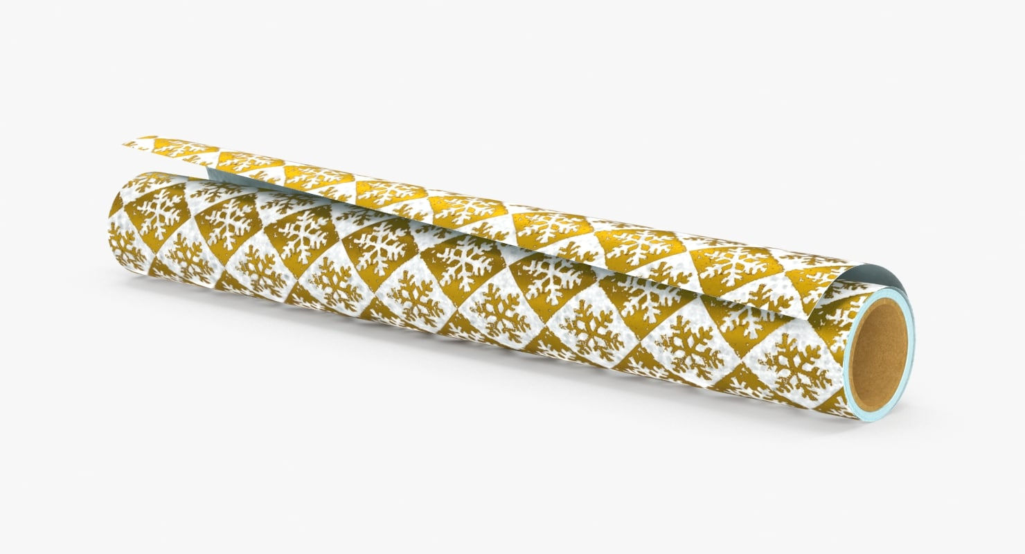3d wrapping paper rolls gold model