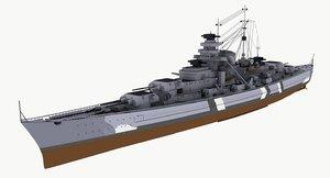 bismarck battleships ship battle 3d max