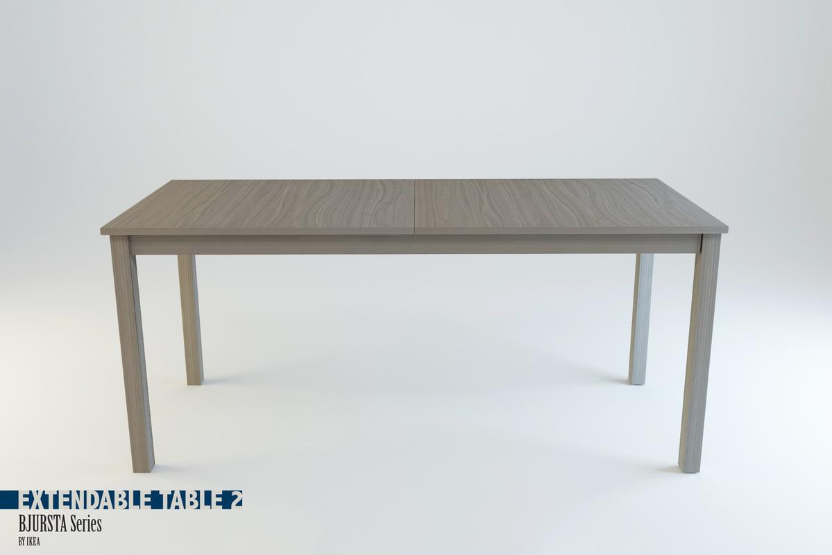 extendable table bjursta series 3d obj