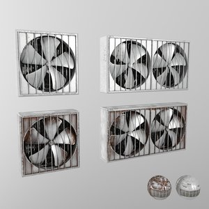 industrial wall fans 3d max
