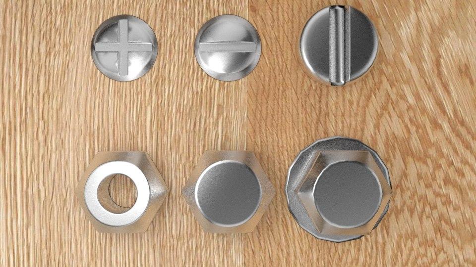 free screws bolts 3d model