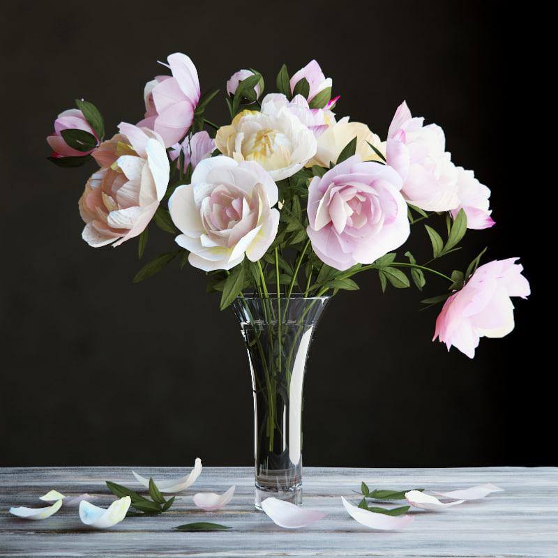 3d peonies bouquet model