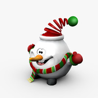 funny christmas snow 3d obj