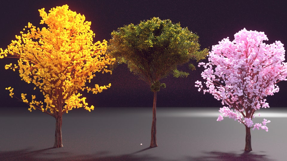 3d model of colorful tree