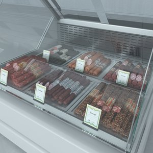 custom refrigerated showcase sausages 3d max