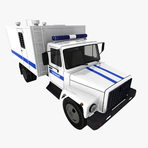 russian police gaz 3307 3d model