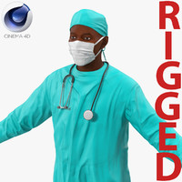 3d model male african american surgeon