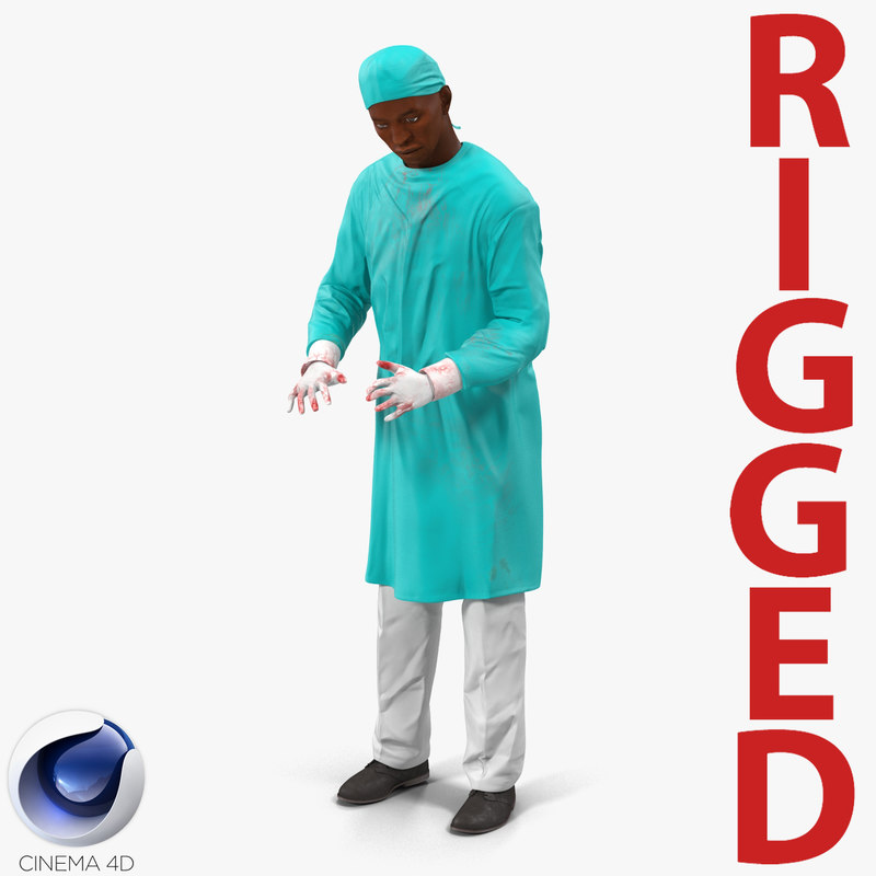 male african american surgeon 3d model