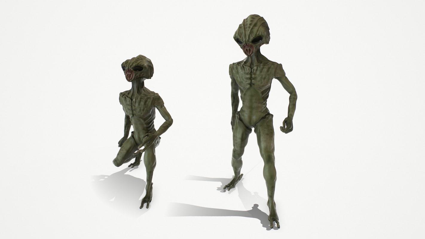 pbr alien rigged character 3d fbx