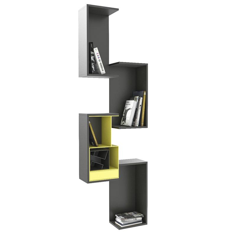 3d model bookshelf books