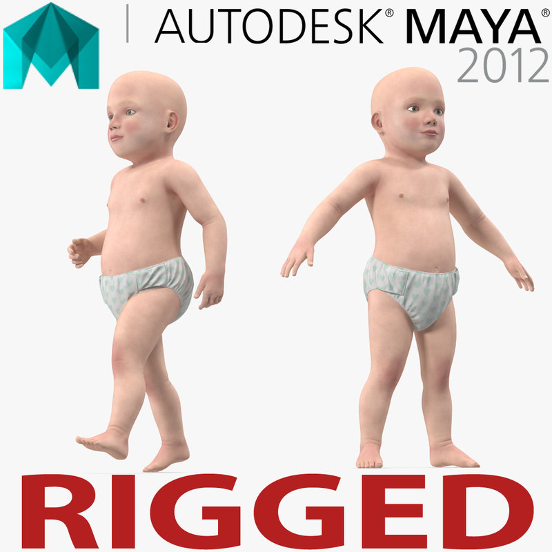 small baby boy rigged 3d ma