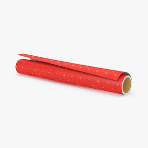 wrapping paper rolls red 3d model