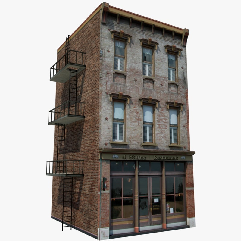 old style residential building 3d model