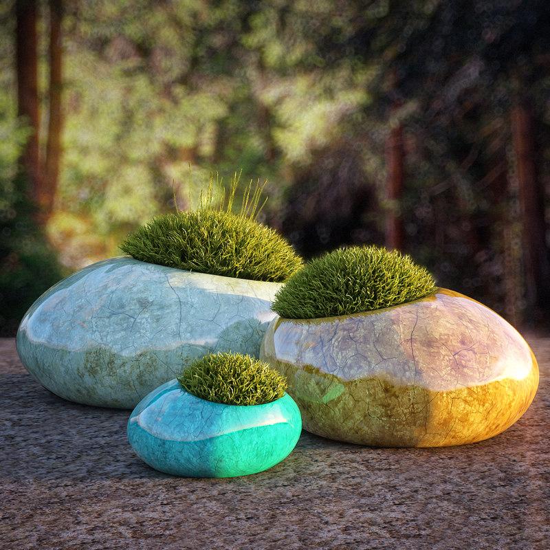 moss rocks 3d model