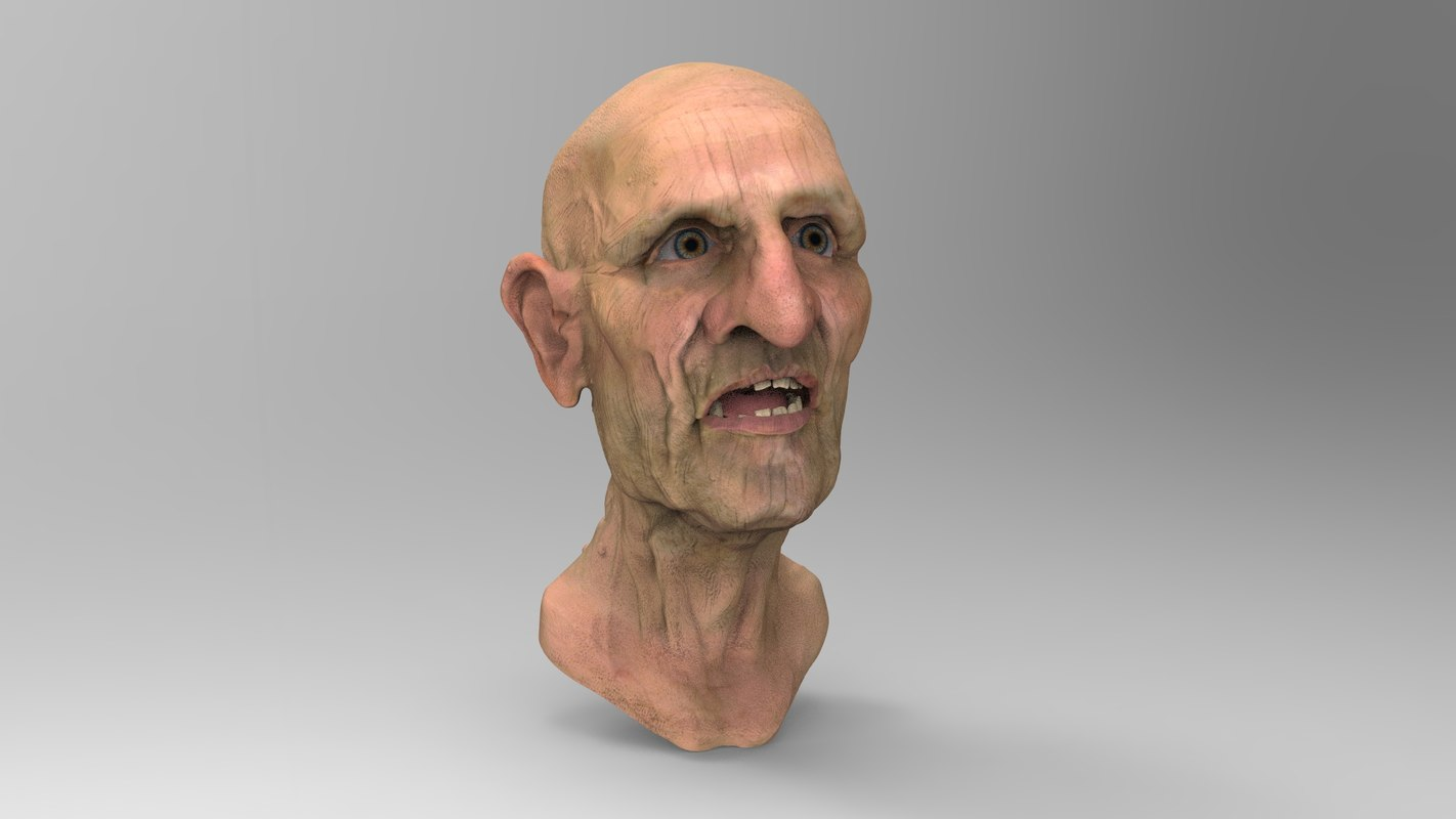 head old man 3d obj