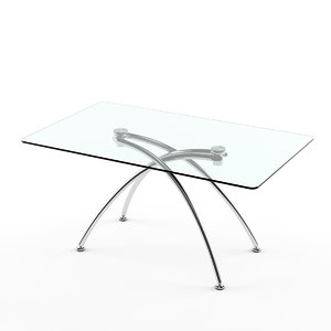 3d model dining table glass