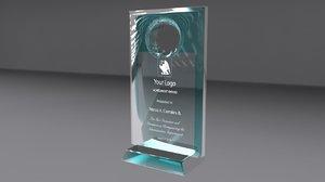 award glass 3d ma