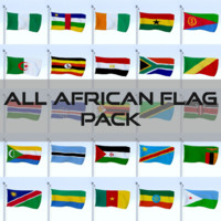 pack flags african africa 3d obj